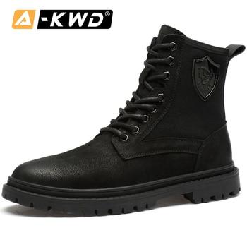 Zapatos de cuero genuino para hombre, botas de invierno cálidas a la moda para hombre, calzado deportivo para hombre, zapatillas de trabajo altas para hombre