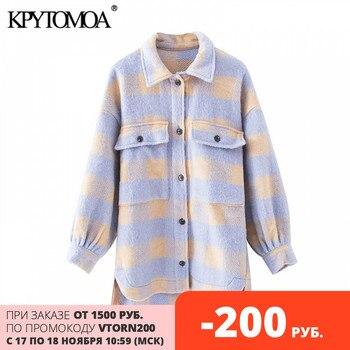 KPYTOMOA femmes 2020 mode surchemises surdimensionné à carreaux laine veste manteau Vintage poche asymétrique vêtements de dessus pour femmes Chic hauts 1