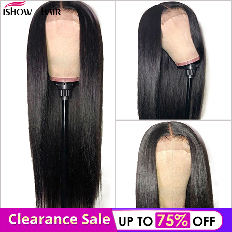 4x4 Straight Lace Closure Wig Brazilian Human Hair Wigs Pre-Plucked With Baby Hair Ishow Remy Straight Lace Closure Wigs