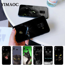 Black Cat Staring Eye On Silicone Case for Samsung A3 A5 A10S A30S A50S A6 Plus 2018 A7 A8 A9 A10 A30 A40 A50 A60 A70 J6