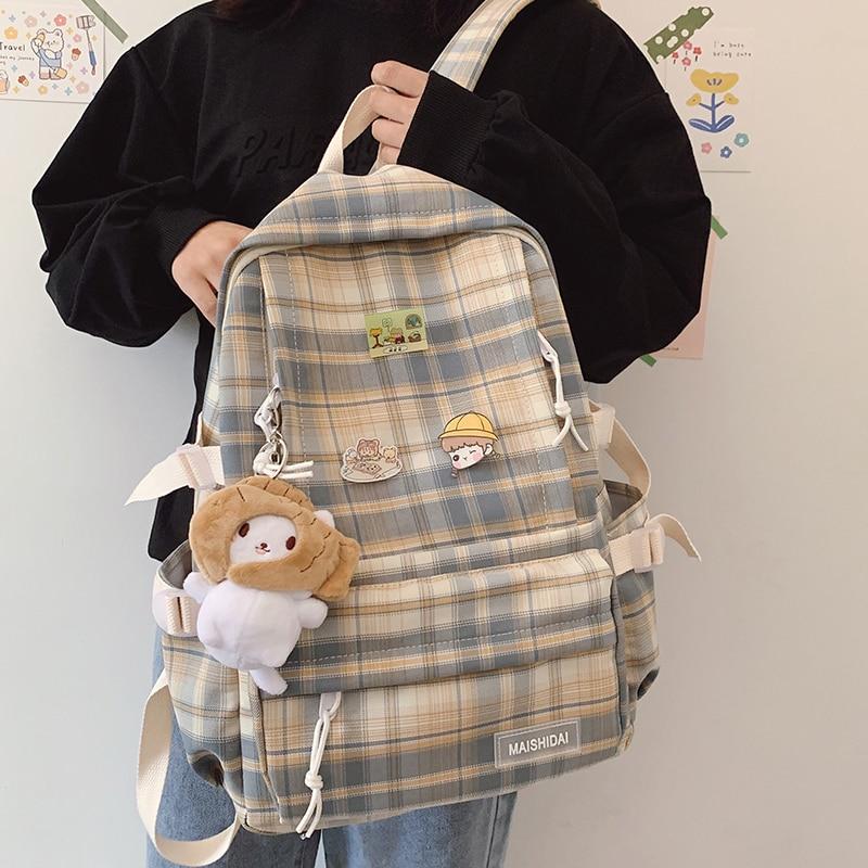 Japanese Plaid Backpack New Korean Large capacity Students schoolbag Campus Stripe Style Fashionable girl Travel bag Waterproof