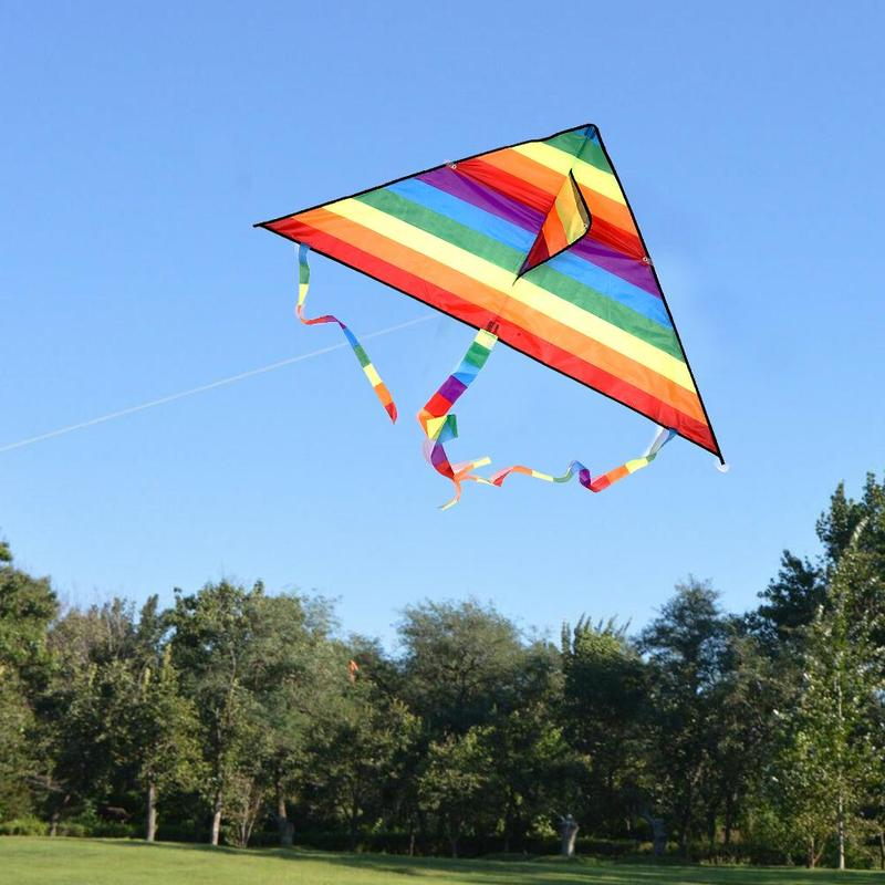 Colorful Rainbow Kite Long Tail Polyester Outdoor Kites Flying Toys For Children Kids Surf Kite With Control Bar And 30m Line
