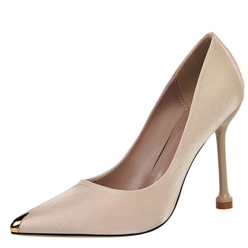 YECHNE Pointed Toe Women's High Heels Shoes Woman Bride Valentine Shoes Sexy Heels Shoes Champagne Party Wedding Pumps 2020