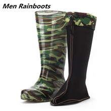 Winter Mens Over the Knee Rain Boots Camouflage Rubber Waterproof Shoes Warm Car Wash Male Labor Protection