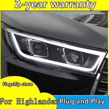 Car Styling for 2015 New Highlander Headlights Toyota Kluger LED Headlight DRL Bi Xenon Lens High Low Beam Parking Fog