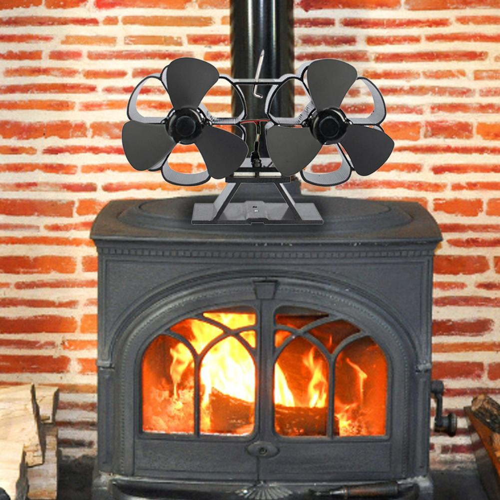 New Super Quiet High Quality 6 Leaf Double Head Fireplace Fan Europe And America Style Thermal Power Stove Fan