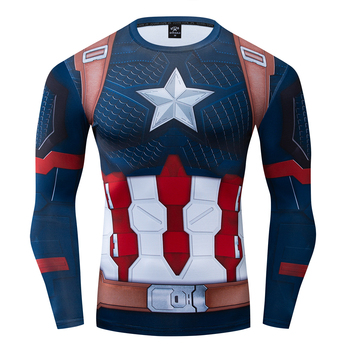 2020 The Endgame Superhero Captain America Cosplay Compression Premium T shirt Finess Gym Quick-Drying Tight Tops - discount item  40% OFF Tops & Tees