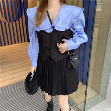Autumn and winter baby collar long-sleeved shirt + suit vest + pleated skirt