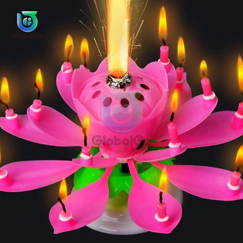 Musical Lotus Flower Candle Happy Birthday Art Candles Lights For DIY Cake Decoration Kids Gift Wedd