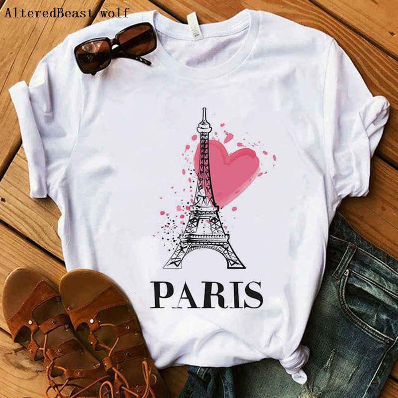 باريس 2019 موضة جديدة باريس برج ايفل المرأة تي شيرت طباعة Harajuku س الرقبة رواج فتاة تي شيرت رواج عادية أنثى تي شيرت