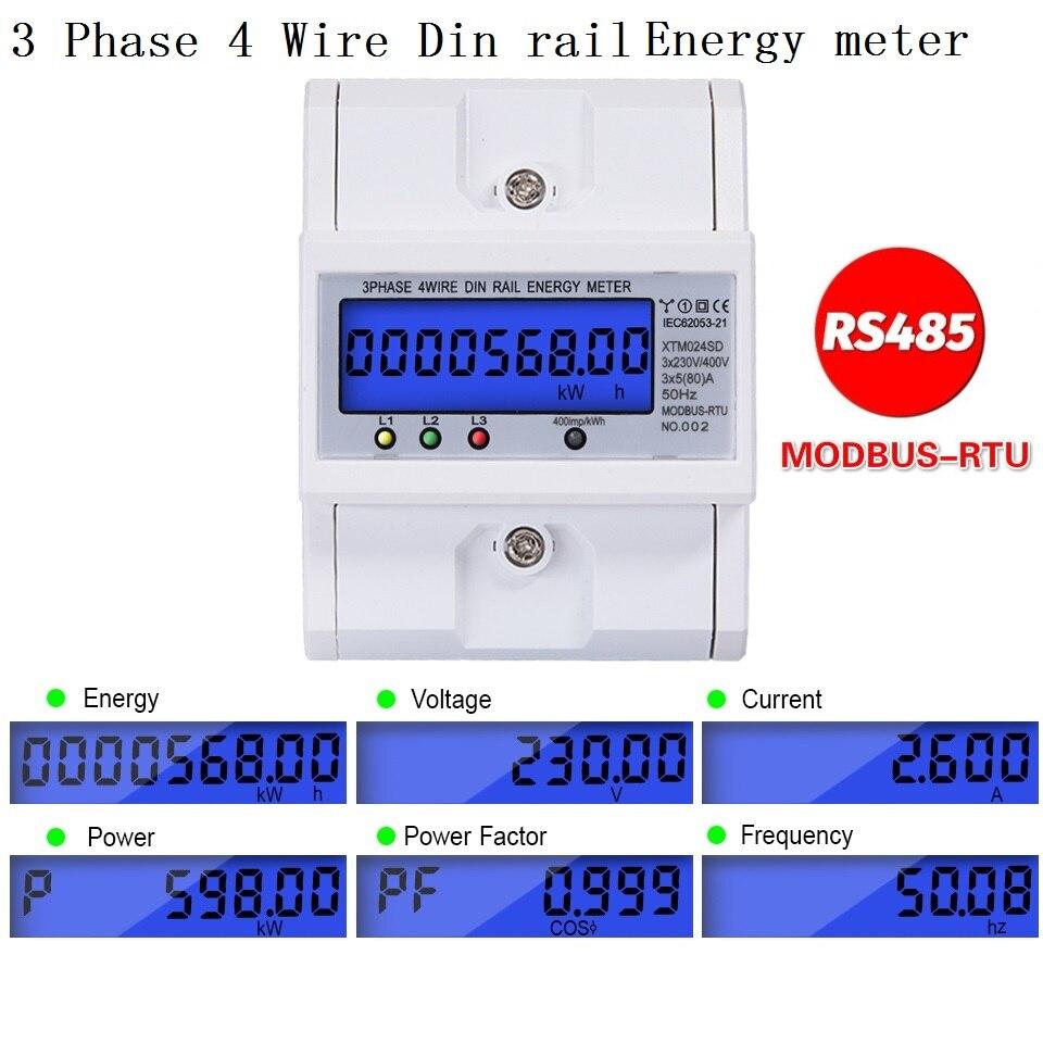 Rs485 multifuncional 3 fase 4 fio eletrônico wattmeter consumo de energia medidor 5-80a 380v ac 50hz backlight modbus
