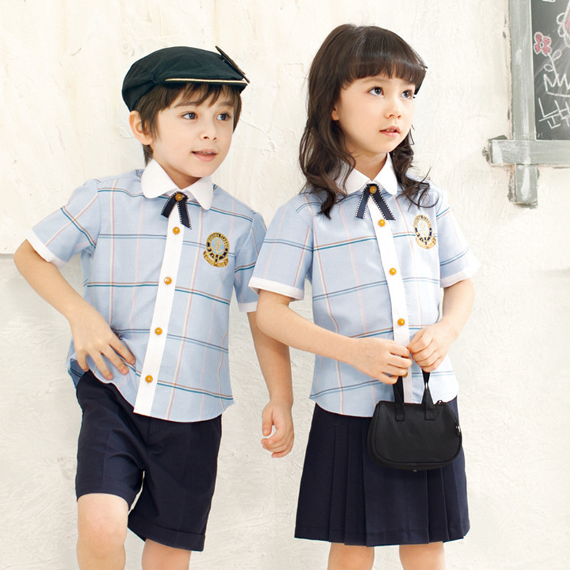 Kindergarten Suit Summer Wear Set 2019 New Style Pure Cotton Young STUDENT'S Short Sleeve School Uniform Business Attire CHILDRE