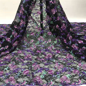 African Dry Lace Fabric Purple High Quality Lace Nigerian Lace Fabric With Sequins Tulle French Mesh Lace Silk Fabric 1763