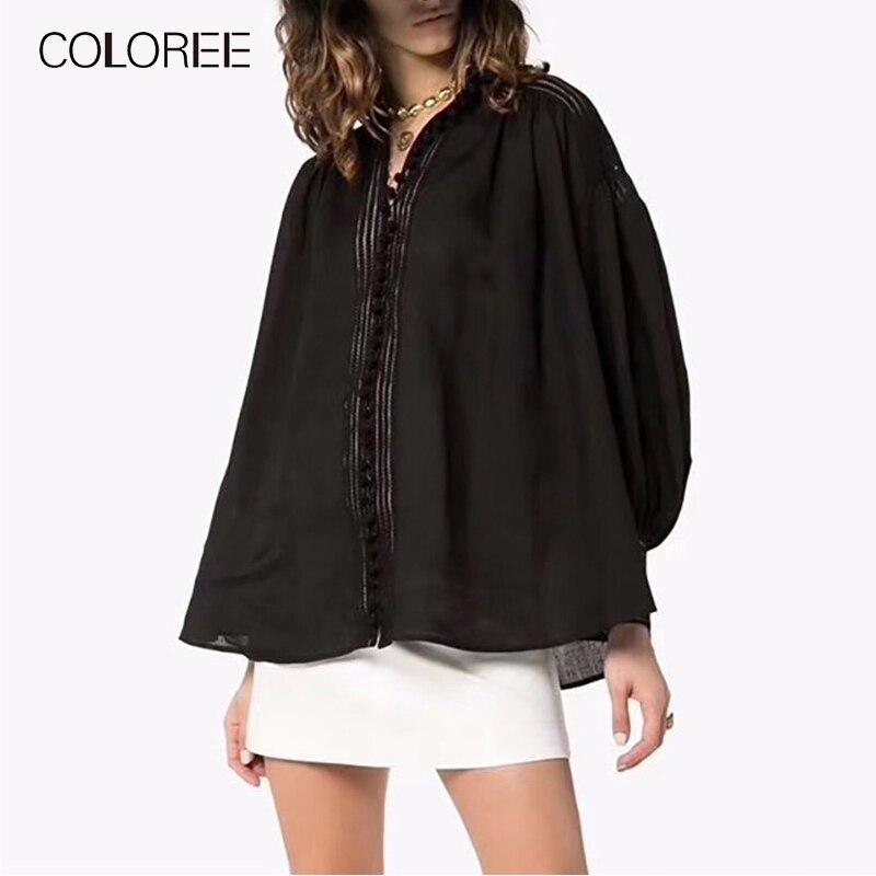Automne manches longues blanc noir femmes chemise 2019 col montant lanterne manches lâche blouses décontractées femmes - 3