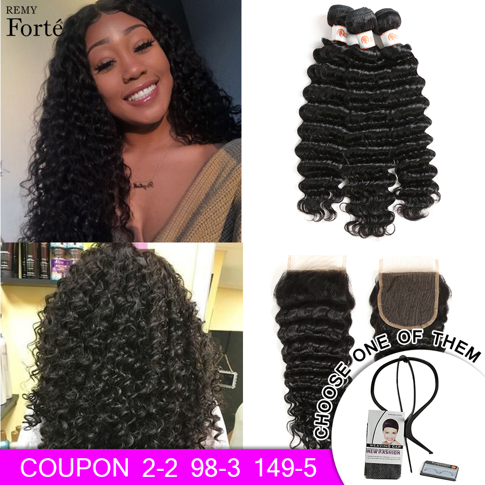 Remy Forte Deep Wave Bundles With Closure 8-30 Inch Hair Remy Brazilian Hair Weave Bundles 3/4 Curly Bundles With Closure Fast