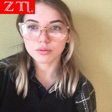 ZT Retro Cat Eye Eyeglasses Frame Women Ultra Light Myopia Glasses Crystal Decoration Black Clear Optical