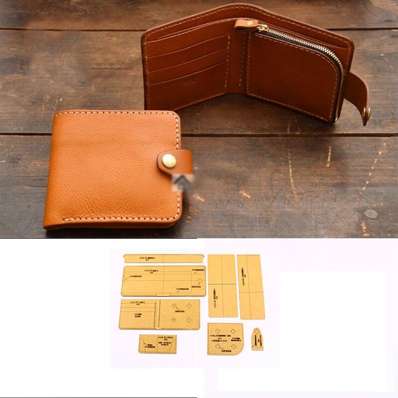 DIY кожаный ремесленный держатель для карт с застежкой-молнией, сумка для монет, тяжелый вес 500gsm шаблон 11x10x2 см, трафарет