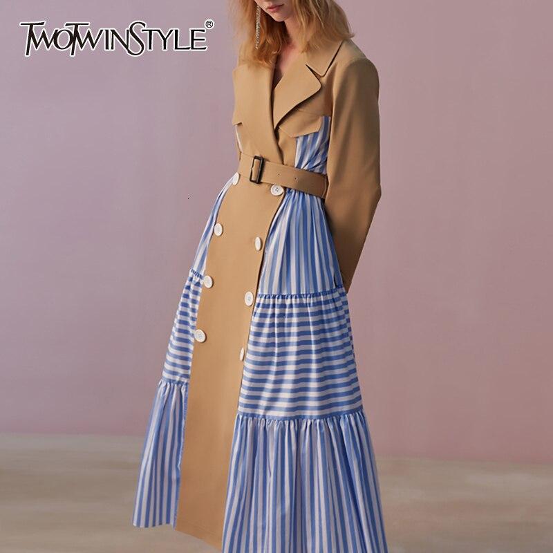 TWOTWINSTYLE 2020 Autumn Winter Lapel Long Sleeve Blue Striped Split Joint Loose Personality Windbreaker Women Trench Fashion