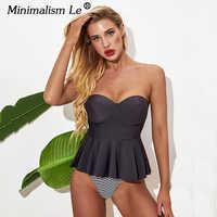 2020 Solid Off Shoulder Tankini Sexy Push Up bikini set Swimwear Women Summer Backless Swimsuit New Striped Print Bathing Suit