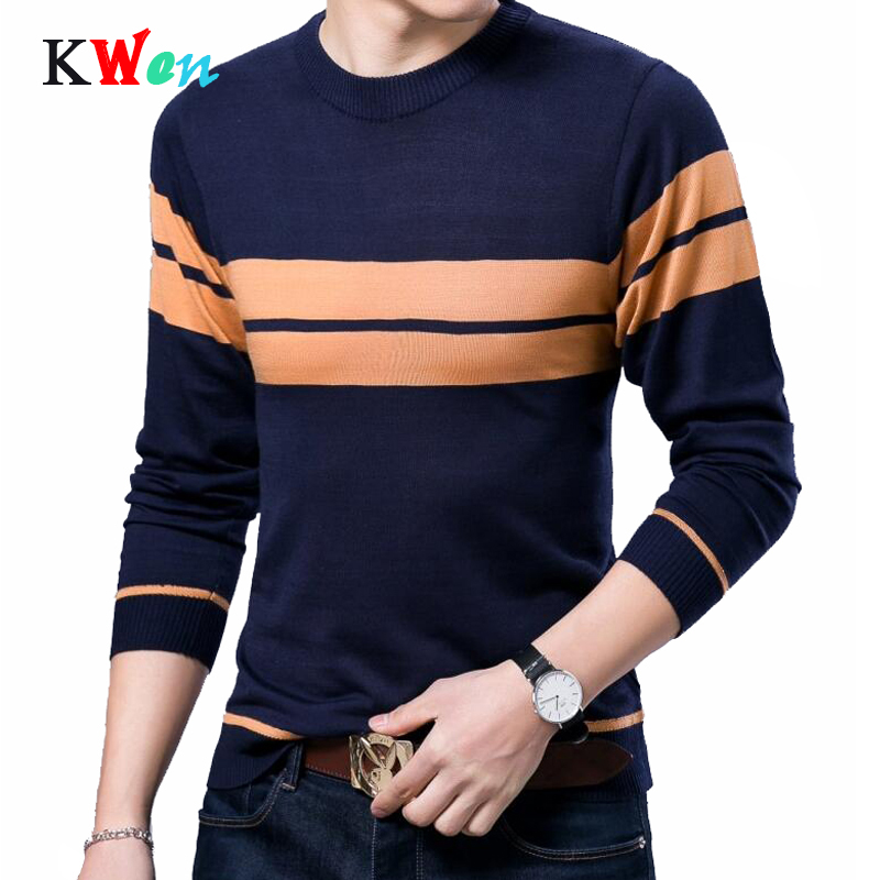 Spring Autumn Brand Casual Men Sweater O-neck Fashion Mens Pull Sweaters 3XL High Quality Stripe Knitting Sweaters Men Pullover