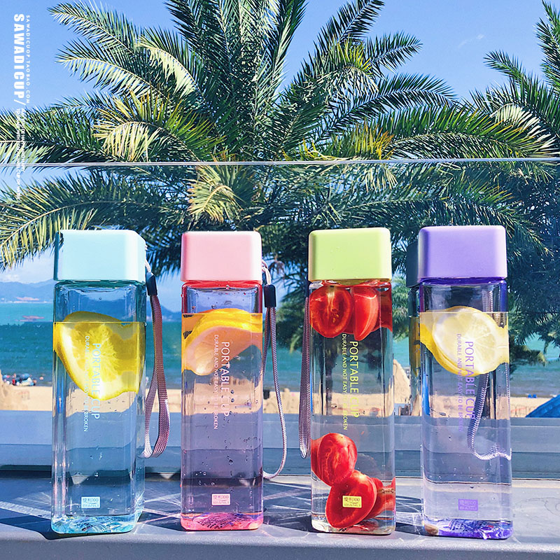 Hd9987e0a8c714a01bb615fc06516c4c2b 500ml Cute New Square Tea Milk Fruit Water Cup for Water Bottles Drink with Rope Transparent Sport Korean Style Heat Resistant