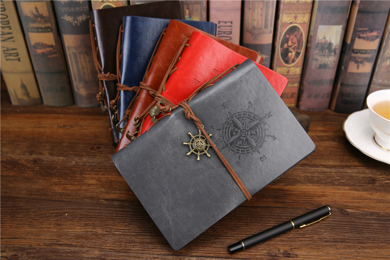 Retro-style leather-look travel journal