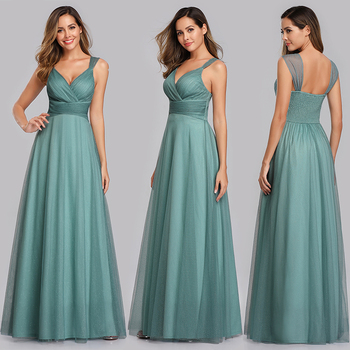 Evening Dress Long Elegant Side-Draped A-line V-neck with Straps Floor-length Sleeveless Evening Party Gowns Queen Abby 6