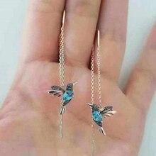 Female Elegant Humming Bird Earrings Crystal Long Tassels Dangle Earring for Women Unique Design Earings Fashion Ladies Jewelry