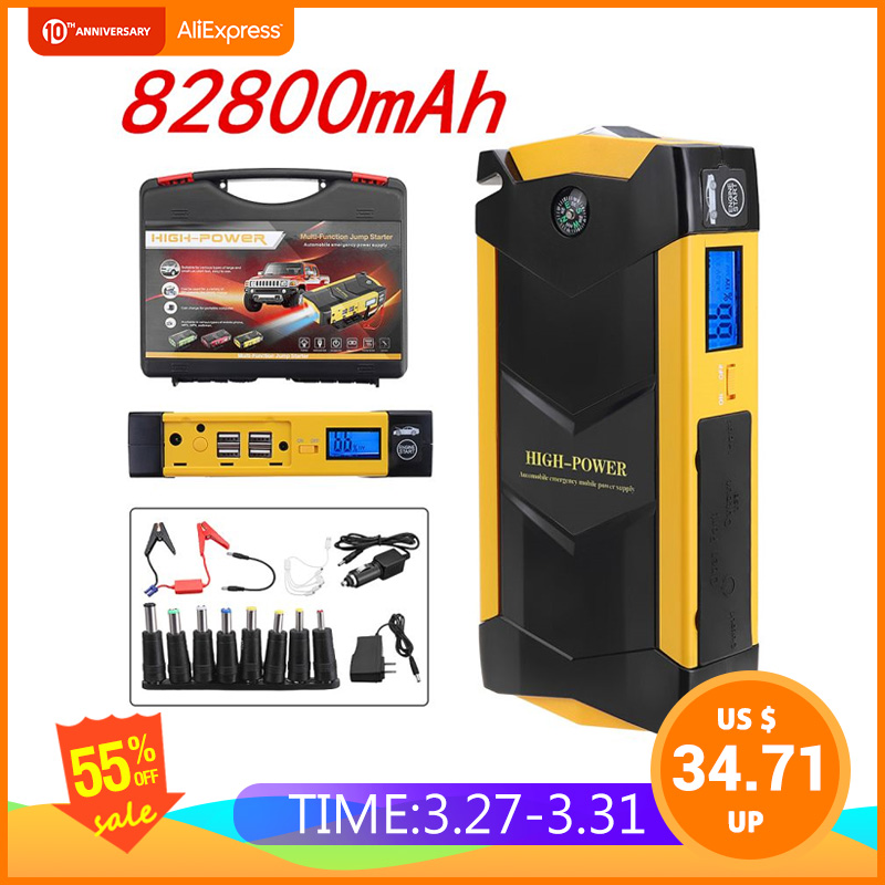 82800mAh High Power <font><b>Car</b></font> <font><b>Jump</b></font> <font><b>Starter</b></font> 12V Portable Starting Device Power Bank <font><b>Car</b></font> <font><b>Charger</b></font> For <font><b>Car</b></font> <font><b>Battery</b></font> Booster Buster 4 USB image