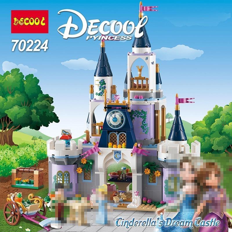 Princess Ariel Cinderella's Dream Castle Building Blocks Bricks DIY Educational Toys For Children Juguete Legoings Girls Friends