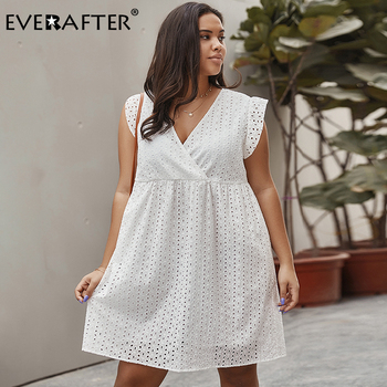 EVERAFTER Elegant Plus Size Hollow out Dress Women Sexy V-neck Sleeveless White Summer Casual Loose Office Lady Party Midi Dress chic v neck sleeveless hollow out sequined club dress for women
