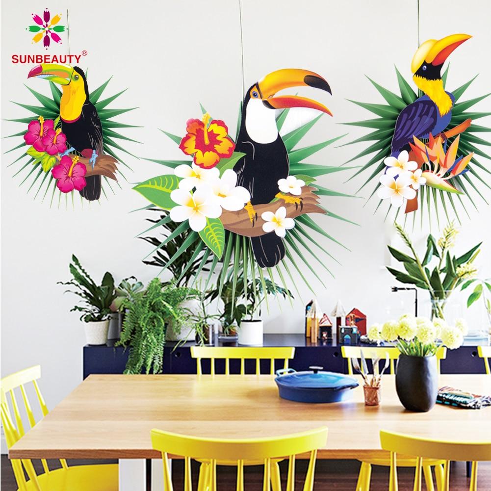 Tropical Party Hawaiian Dekorationen 3 stücke Hängen Papier Fans Flamingo Toucan Palm Blätter Muster Sommer Geburtstag Luau Party Decor