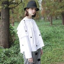 Белая рубашка imakokoni в горошек с длинными рукавами оригинальный