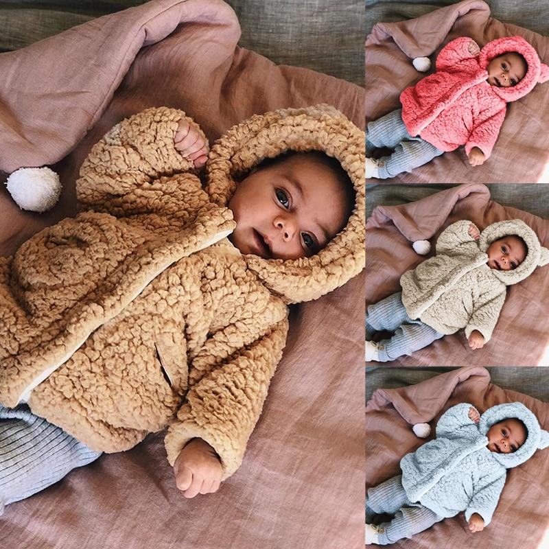 Baby Kids Boy Girl Cute Bear Fur Fleece Hooded Winter Warm Coat Jacket Outerwear