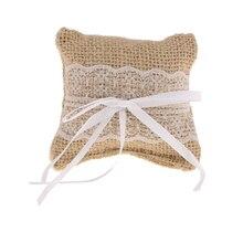 Encaje Vintage arpillera yute anillo portador almohada cojín favores de la boda suministros