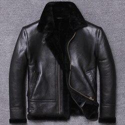 100% natürliche Lammfell Jacke Männer Kleidung 2020 Streetwear Echt Pelzmantel Mann Moto Biker Schlank Echtem Leder Jacken U802