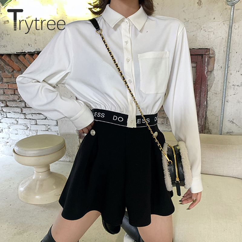 Trytree 2020 Spring Two Piece Set Casual Turn-down Collar Single Breasted Letter 2 Color Blouse + Skirt Mini Black 2 Piece Set