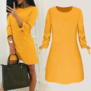 Women Elegant Dress Solid O Neck Bow Three Quarter Length Sleeve Shift Dress Office Lasies Work Dresses Female Vestido #YJ