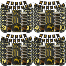 1set 30th 40th 50th 60th happy birthday party decorations adult anniversary party supplies gold black paper plate cup napkin