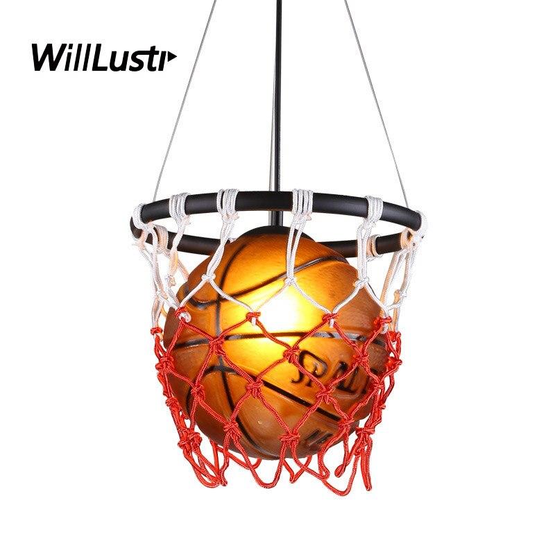 Ретро баскетбольный подвесной светильник, винтажная Подвесная лампа для детей, детская комната, спортивный магазин одежды, стеклянный Амер