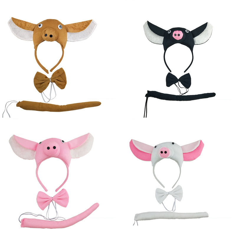 Animal Pig Ear Headband Bow Tie Tail Fancy Dress Cosplay Set Birthday Party Props Gift Halloween Costumes For Women Kids Child