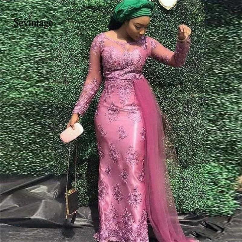 Sevintage South African Mermiad Prom Dresses Sheer Scoop Neck Lace Long Sleeves Floor Length Formal Evening Dress Abendkleider