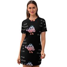 Cloud Dress Short Sleeve Daily Curvy Bodycon Beautiful Youth Spandex Printed One-Piece
