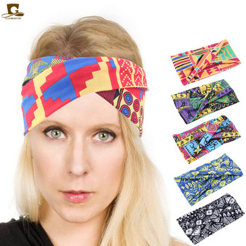Hot sale African Pattern Ankara Print Cotton Headband for Women Beach Twist Turban Vintage Elastic Hair Accessories