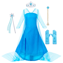 AmzBarley Lace Long sleeves Princess Elsa Dress Cosplay Costume Toddler girls Snow Queen Halloween Party outfits for age 3-10