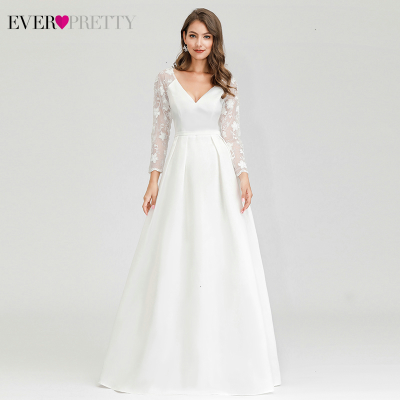 Elegant Evening Dresses Ever Pretty Lace Embroidery A-Line V-Neck Long Sleeve Illusion Formal Evening Gowns Robe De Soiree 2020