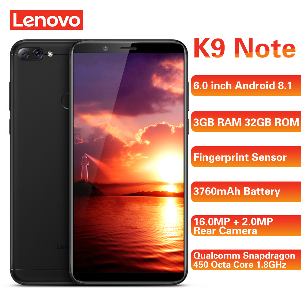 Lenovo K9 Note 4G Smartphone 6.0 ''18:9 Android 8.1 Qualcomm Snapdragon 450 Octa Core 1.8GHz 3GB + 32GB 16.0MP téléphones portables