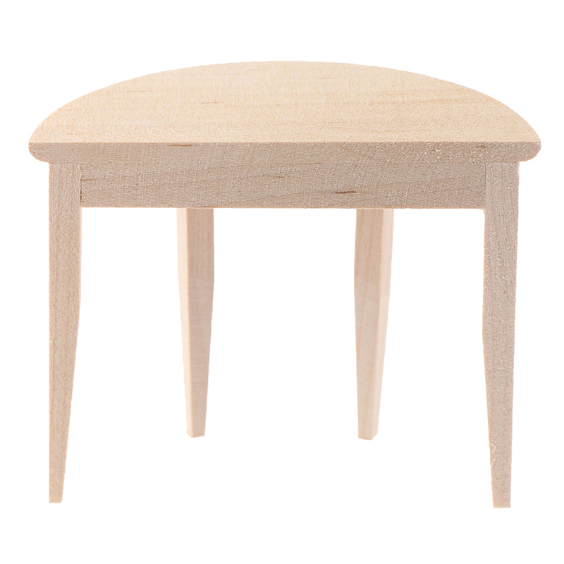 1:12 Simulation Dollhouse Miniature Wooden Half Round Table Model Furniture Teatable Coffee Living Room Kid Toy Dolls Home Toy