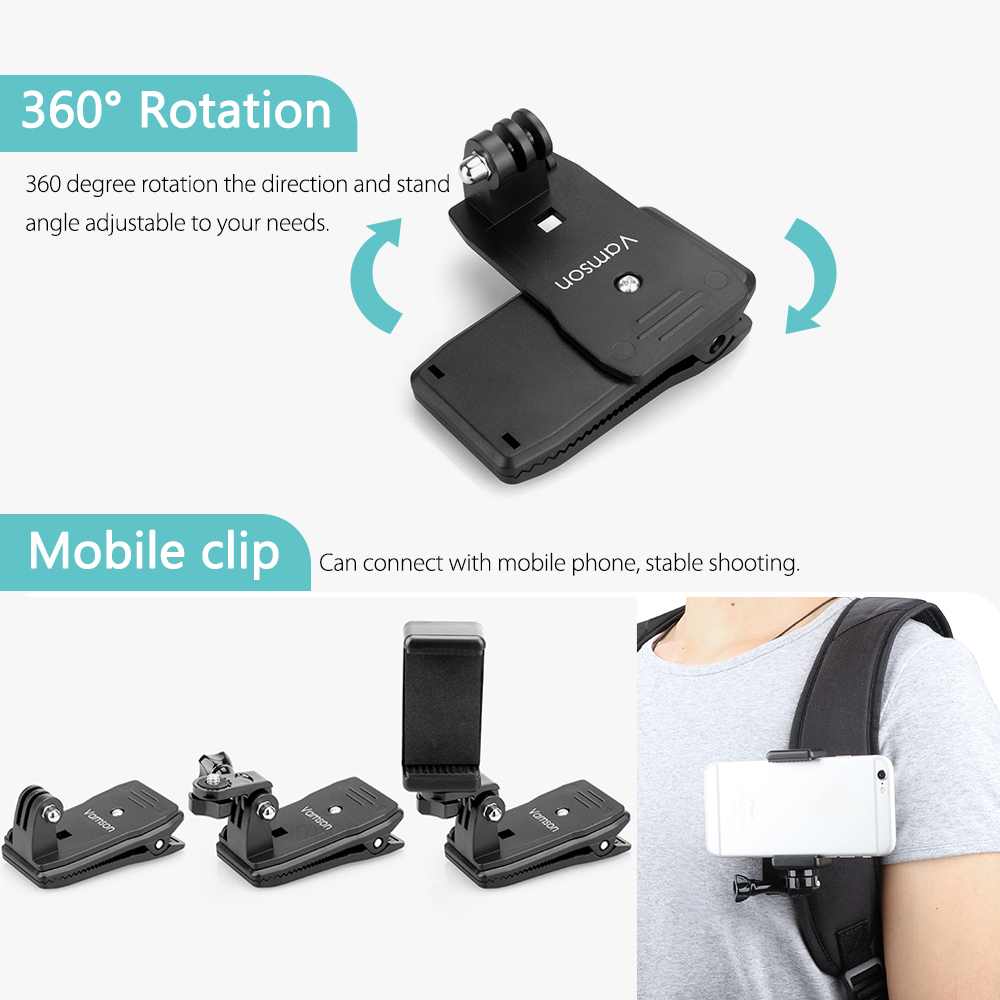 Image 5 - Vamson for Go Pro Accessories 360 Degree Rotation Clip For GoPro Hero 7 6 5 4 3+ 3 2 1 for Xiaomi yi for SJCAM for SJ4000 VP512-in Sports Camcorder Cases from Consumer Electronics