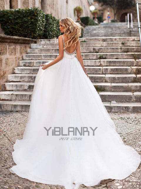 Luxury Wedding Dress Tulle And Beading With A-line V-neck Sleeveless Spahrtti Strap Bride Dresses Backless Button Plus size 2